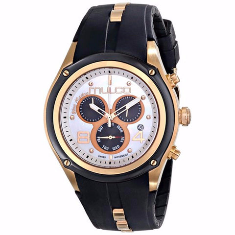 MULCO BLUE MARINE MOTHER OF PEARL CHRONOGRAPH DIAL BLACK RUBBER LADIES WATCH MW1-29902-021