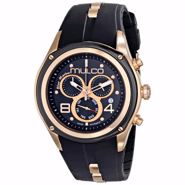 MULCO BLUE MARINE CHRONOGRAPH BLACK DIAL BLACK RUBBER LADIES WATCH MW1-29902-025