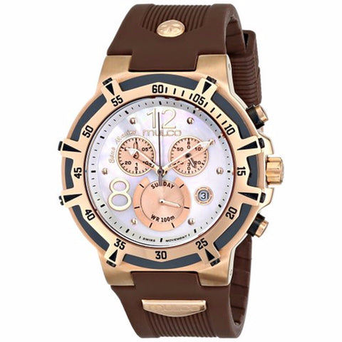 MULCO BLUE MARINE MOTHER OF PEARL DIAL CHRONOGRAPH BROWN RUBBER LADIES WATCH MW1-29903-031