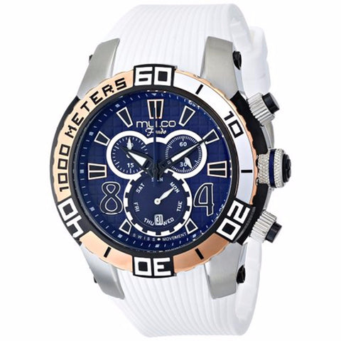 MULCO FONDO WHEEL CHRONOGRAPH BLUE DIAL WHITE RUBBER STRAPS MENS WATCH MW1-74197-014