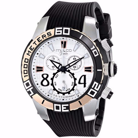 MULCO FONDO WHEEL CHRONOGRAPH WHITE DIAL BLACK RUBBER STRAPS MENS WATCH MW1-74197-021