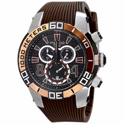 MULCO FONDO WHEEL CHRONOGRAPH BLACK DIAL BROWN RUBBER STRAPS MENS WATCH MW1-74197-035