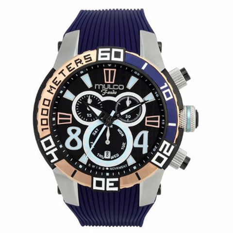 MULCO FONDO WHEEL CHRONOGRAPH BLACK DIAL PURPLE RUBBER STRAPS MENS WATCH MW1-74197-044