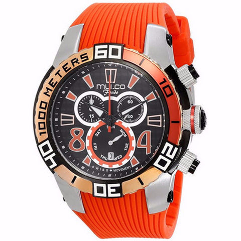 MULCO FONDO WHEEL CHRONOGRAPH BLACK DIAL ORANGE RUBBER STRAPS MENS WATCH MW1-74197-065