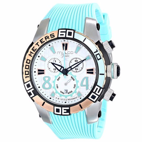 MULCO FONDO WHEEL CHRONOGRAPH WHITE DIAL LIGHT BLUE RUBBER STRAPS MENS WATCH MW1-74197-413