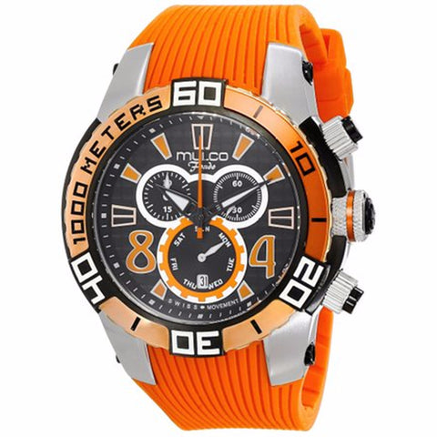 MULCO FONDO WHEEL CHRONOGRAPH BLACK DIAL ORANGE RUBBER STRAPS MENS WATCH MW1-74197-615