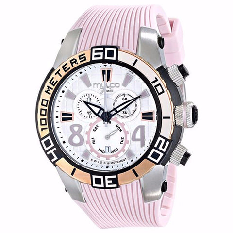 MULCO FONDO WHEEL CHRONOGRAPH WHITE DIAL PINK RUBBER STRAPS UNISEX WATCH MW1-74197-813
