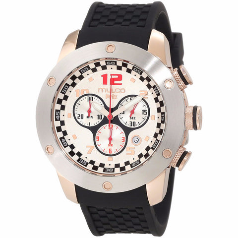 MULCO Prix White Dial Chronograph Black Silicone Men's Watch MW2-6313-021