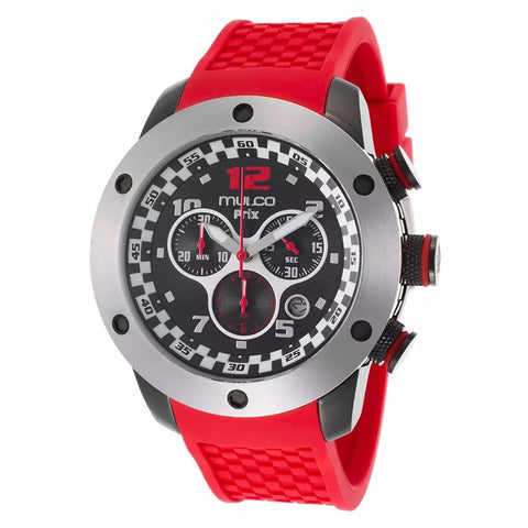 MULCO Prix Black Dial Chronograph Red Silicone Men's Watch MW2-6313-065