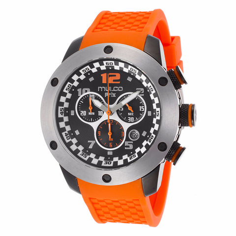 MULCO Prix Black Dial Chronograph Orange Silicone Men's Watch MW2-6313-085