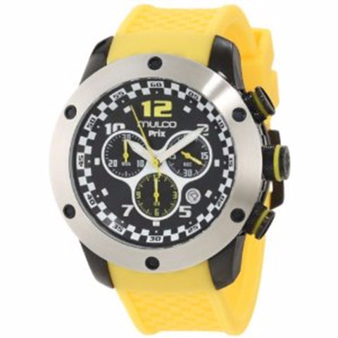 MULCO Prix Black Dial Chronograph Yellow Silicone Men's Watch MW2-6313-095