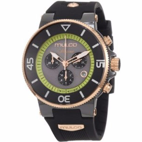 MULCO Ilusion Grey and Green Dial Chronograph Rubber Unisex Watch MW3-11009-025