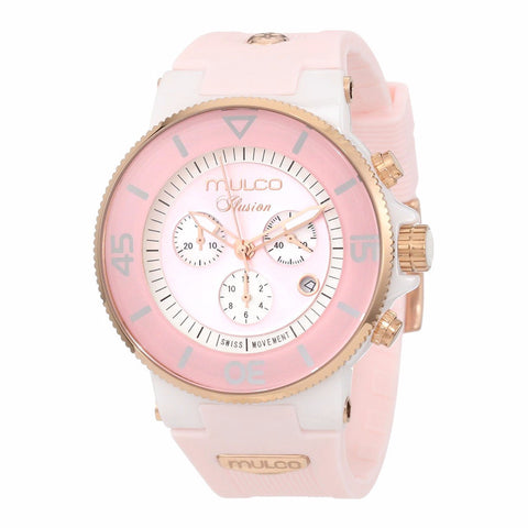 MULCO Ilusion White and pink Dial Chronograph Rubber Unisex Watch MW3-11009-083