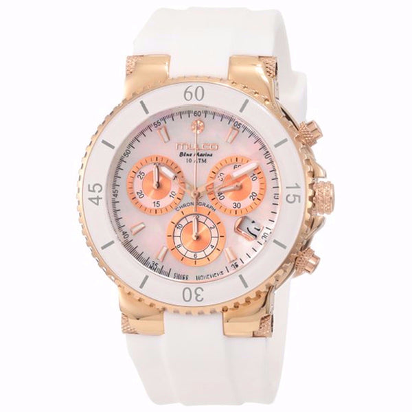 MULCO Blue Marine Mother of Pearl Dial White Silicone Ladies Watch MW3-70604-013
