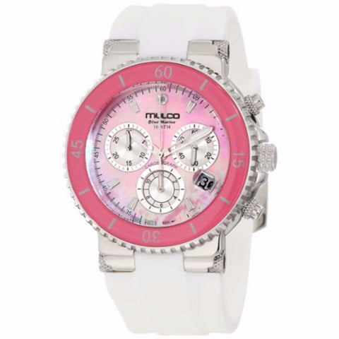 MULCO Blue Marine Pink Mother of Pearl Dial Silicone Ladies Watch MW3-70604-018