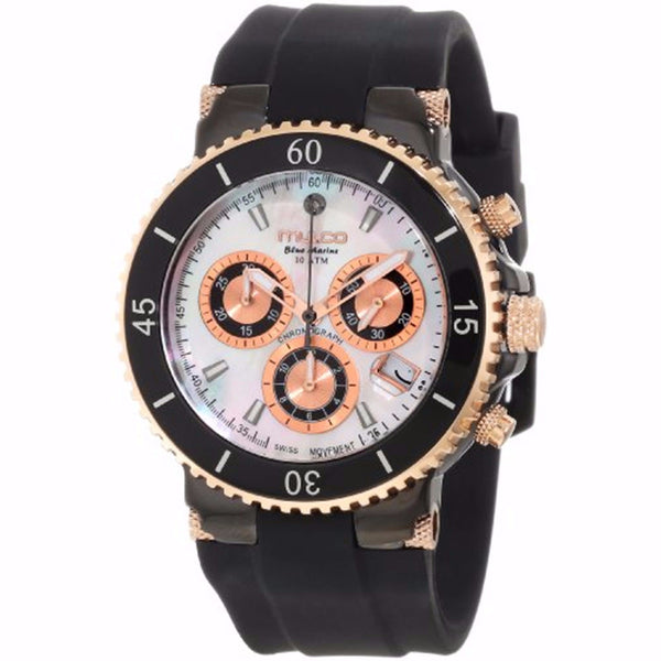 MULCO Blue Marine Mother of Pearl Dial Black Silicone Ladies Watch MW3-70604-021