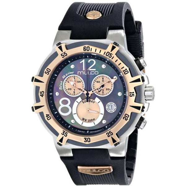 MULCO BLUE MARINE GREY MOTHER OF PEARL DIAL CHRONOGRAPH BLACK RUBBER LADIES WATCH MW1-29903-022