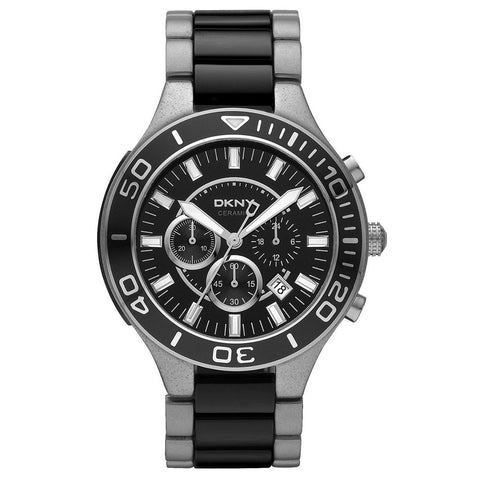 Black Dial Stainless Steel and Ceramic Chrongraph Men's Watch NY1489