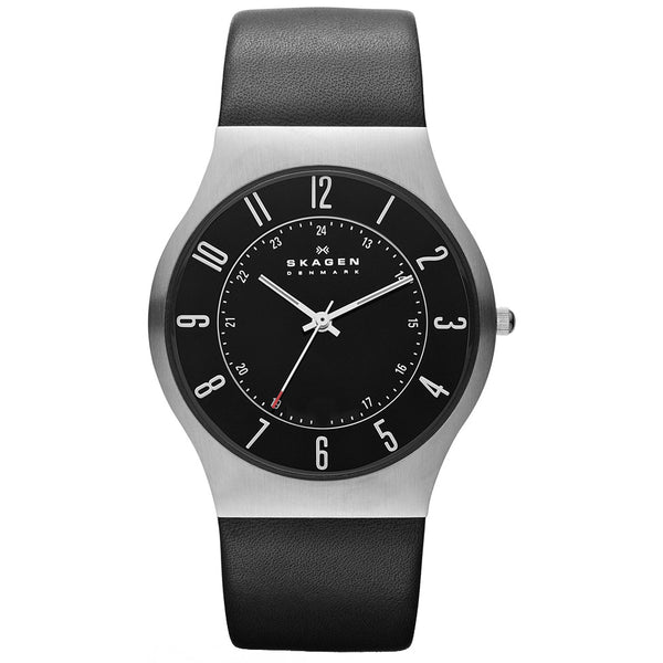 Skagen Mens Grenen black dial black leather strap watch PRSK1032