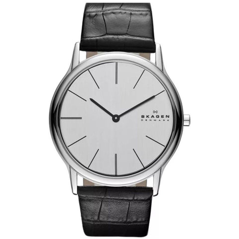 Skagen Mens Croc Embossed black leather strap watch PRSK1033