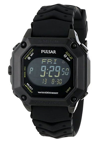 PULSAR Black Digital Dial Black Rubber Men's Watch PW3003