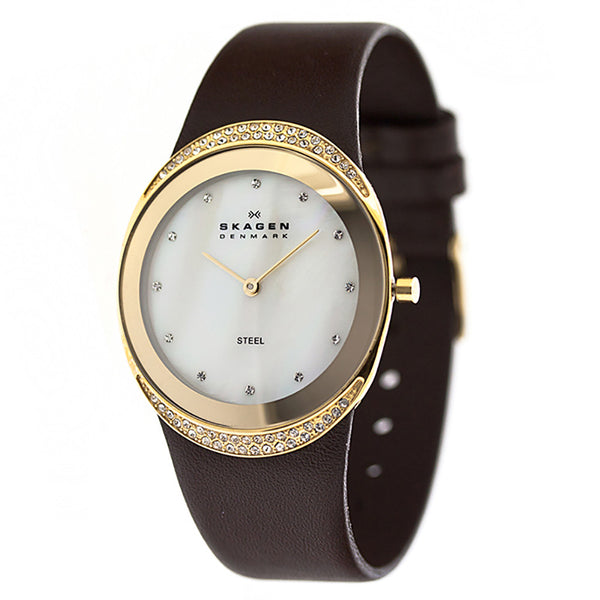 SKAGEN Mother of Pearl Dial Brown Leather Ladies Watch 452LGLD