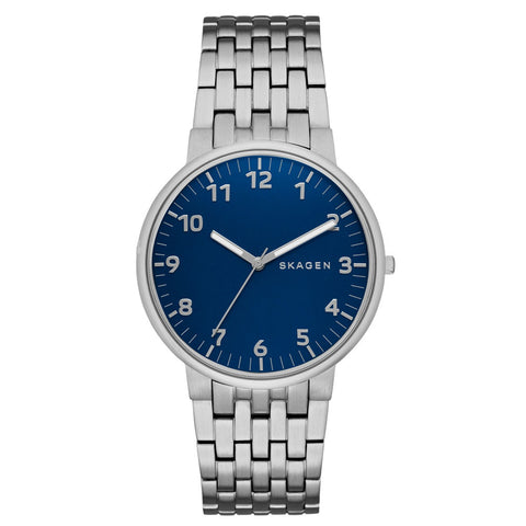Skagen Ancher Stainless Steel Link Easy Reader Blue Dial Men's Watch SK-SKW6201