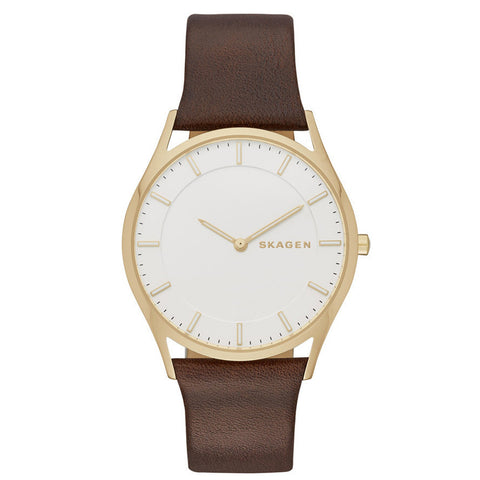SKAGEN Holst Silver Dial Brown Leather Ladies Watch SK-SKW6225