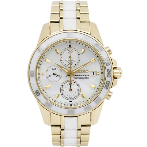 SEIKO SNDX02P1 Sportura Chronograph Mother of Pearl Dial Gold-tone and White Ceramic Women's Watch