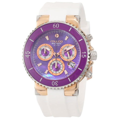 MULCO Blue Marine Purple Mother of Pearl Dial Silicone band Ladies Watch MW3-70604-015
