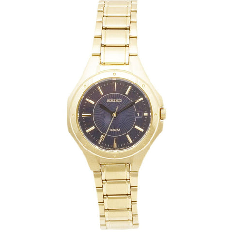 SEIKO SXDE18P1 Ladies Watch Gold tone Stainless Steel black Dial