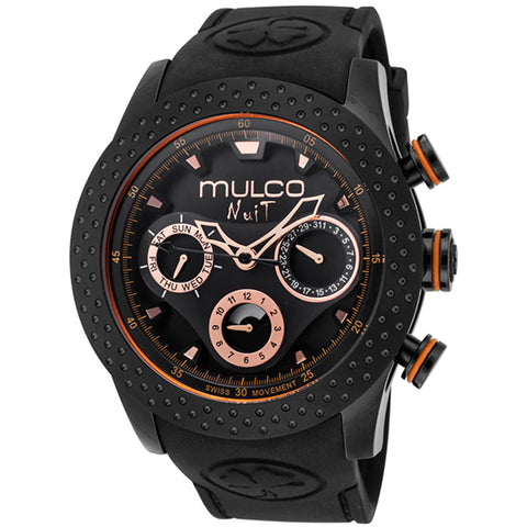 MULCO Nuit Mia Multi-Function Black Dial Black Silicone Analog Display Swiss Quartz Black Ladies Watch MW5-1962-260
