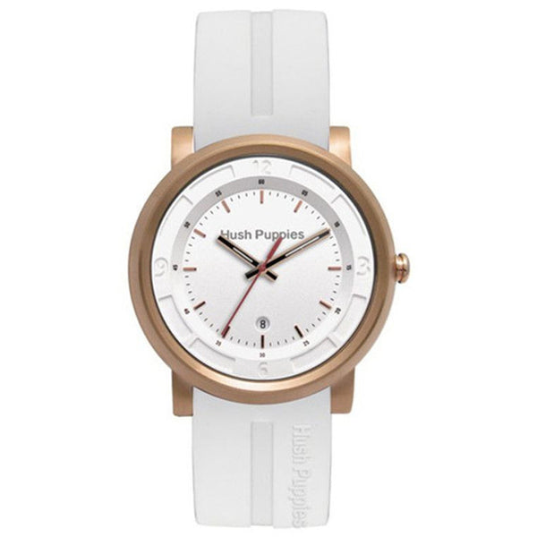 HUSH PUPPIES WHITE RUBBER STRAP AND ROSE GOLD TONE CASE MENS WATCH HP.3542M02.9506