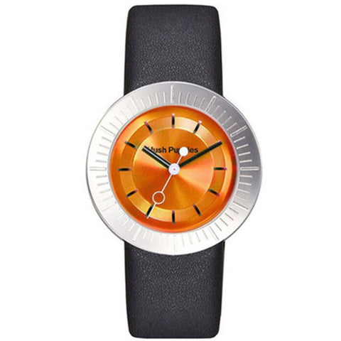 HUSH PUPPIES WOMEN'S ORANGE DIAL BLACK LEATHER STRAP WATCH HP.3612L.25118