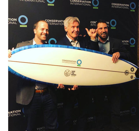 Harrison Ford, Nik Strong-Cvetich and Jack Kittinger of Conservation Int'l and Save the Waves