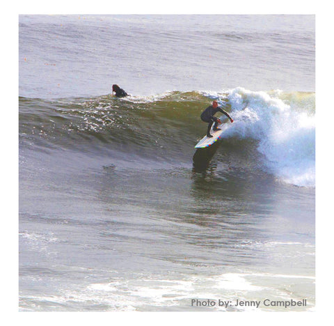 Photo by Jenny Campbell of David Dennis on a Bonobo Longboard in Santa Cruz, CA