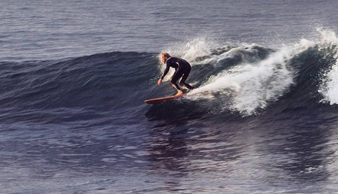 Martijn Surfing Baja California on a Ventana wooden surfboard