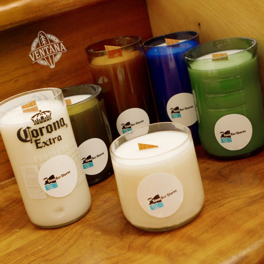 "Candle - Beach Trash Bottle Candle To Benefit ""Save Our Shores"""