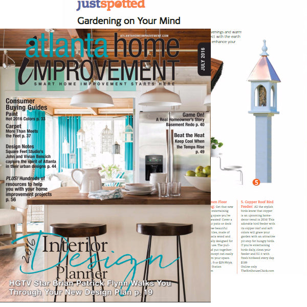 Copper roof birdhouse featured in Atlanta Home Improvement magazine