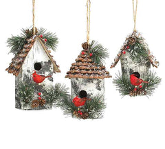 Handmade birdhouse ornaments