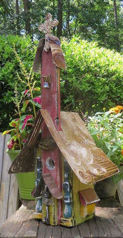 Tall Rustic Church Bird House