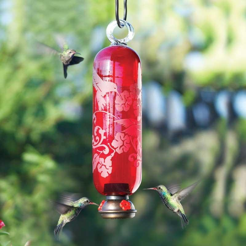 Handmade Glass Hummingbird Feeders