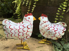 Rustic Hens Metal Yard Art
