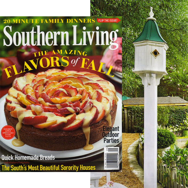 Copper roof birdhouse featured in Southern Living magazine