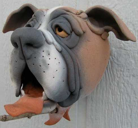 Unique Birdhouses- Pottery Dog