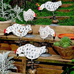 Recycled Metal Rocking Chickens
