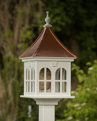 Classic Post-Mount Bird Feeder with Copper Roof