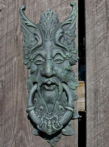 Large Green Man Knocker and Gate Keeper