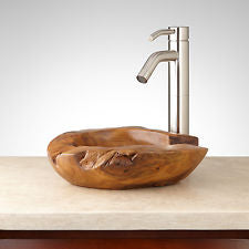 rustic teak bowl paired with mod faucet