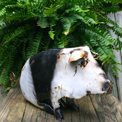 Spotted pig metal yard art
